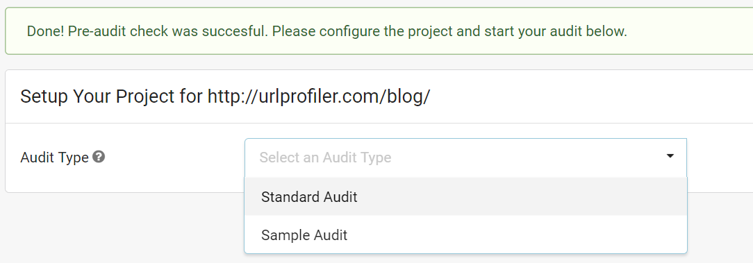 Select Audit Type