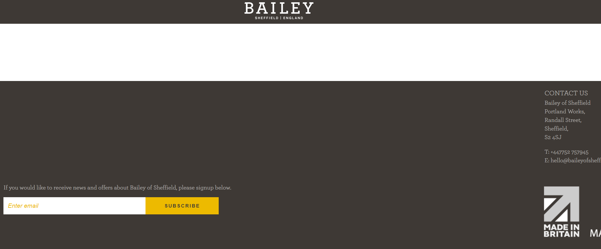 Bailey of Sheffield no JavaScript