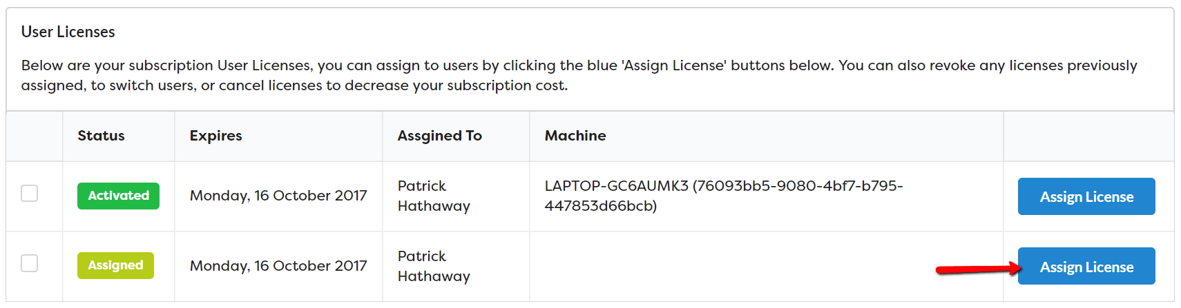 Assign Free Licenses