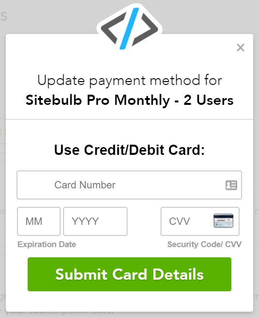 Submit new credit card