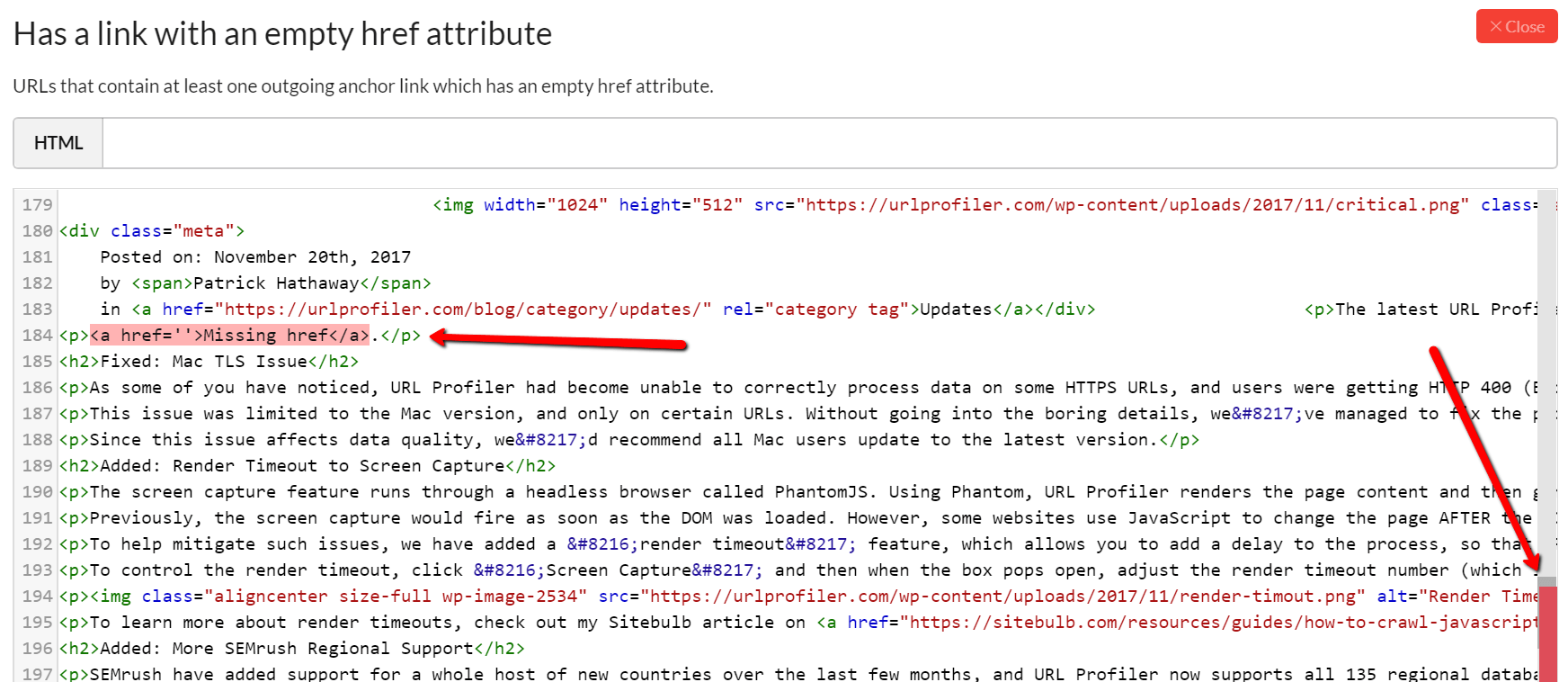 Link with empty href highlighted in HTML