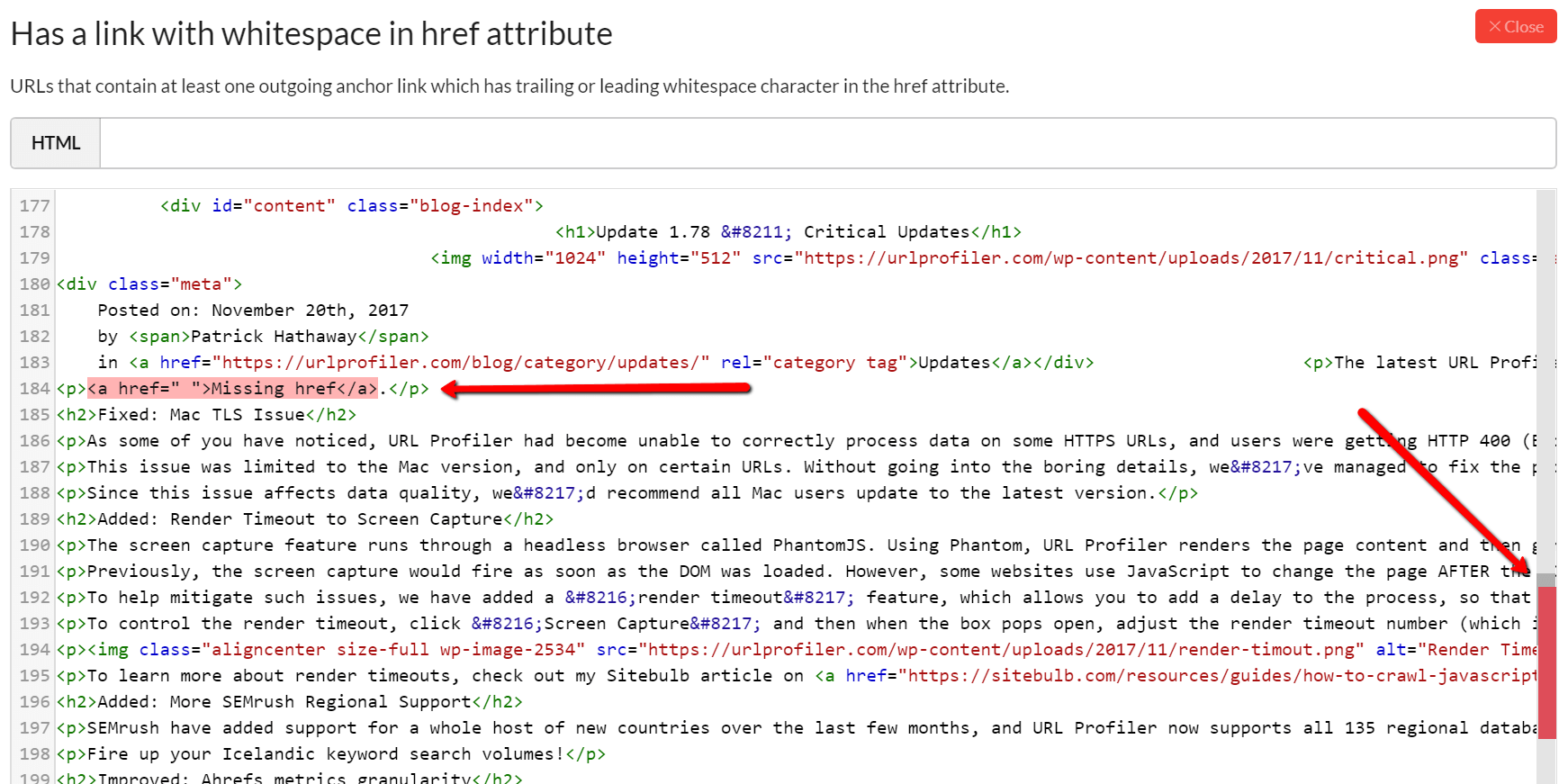 Links with whitepace in the href - highlighted in HTML