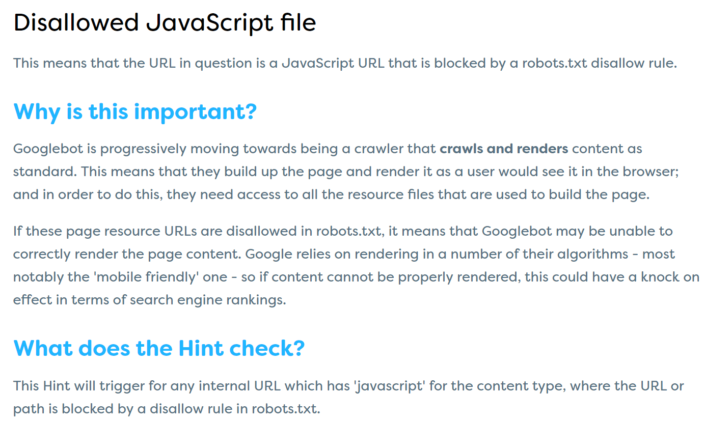Disallowed JS file Learn More Hints page