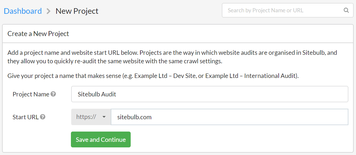 Create a new Sitebulb project