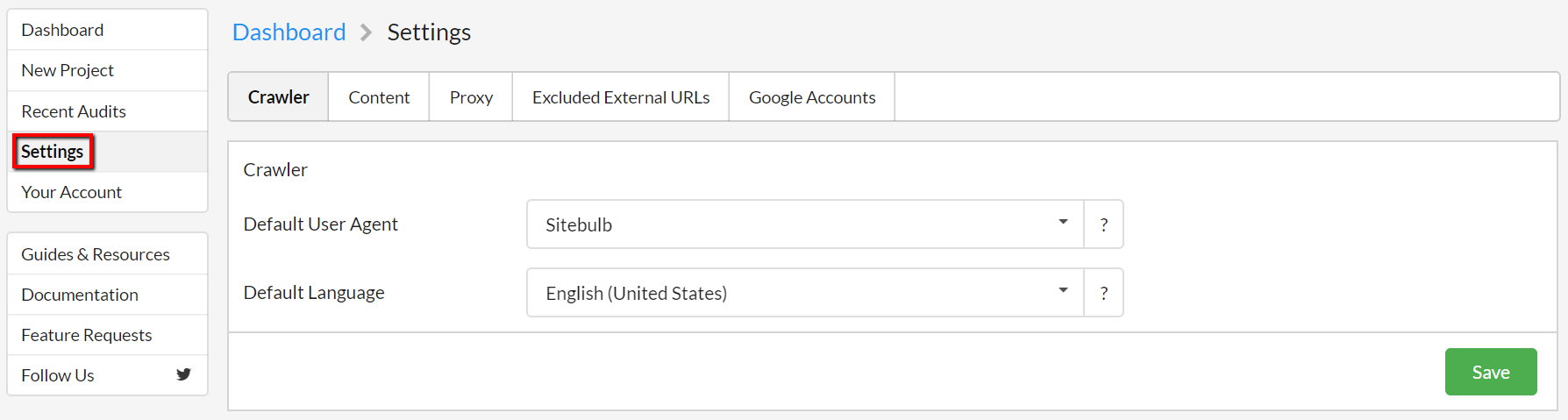 Global Settings Option