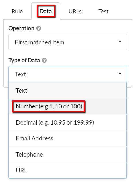 Switch data type to number